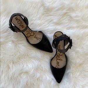 "Sam Edelman Black Ankle Strap Pointed Toe 3"" Heels"